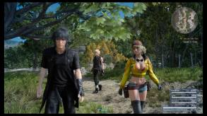 Noctis is too frustrated with the trees to notice that Cindy's outfit is ridiculous.